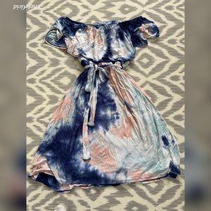 Tie dye off the shoulder dress with tie waist